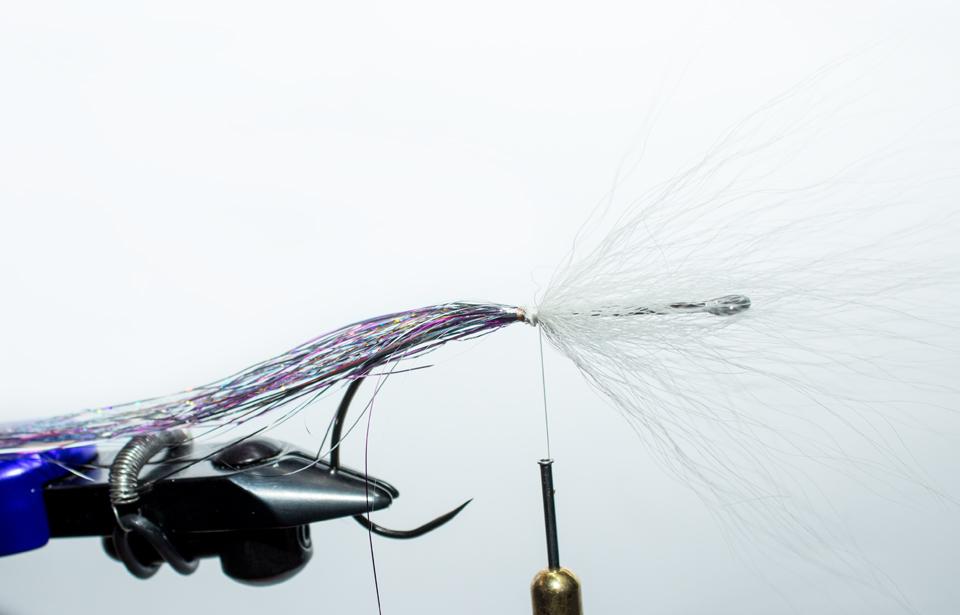 3) Tie in buck tail tips forward