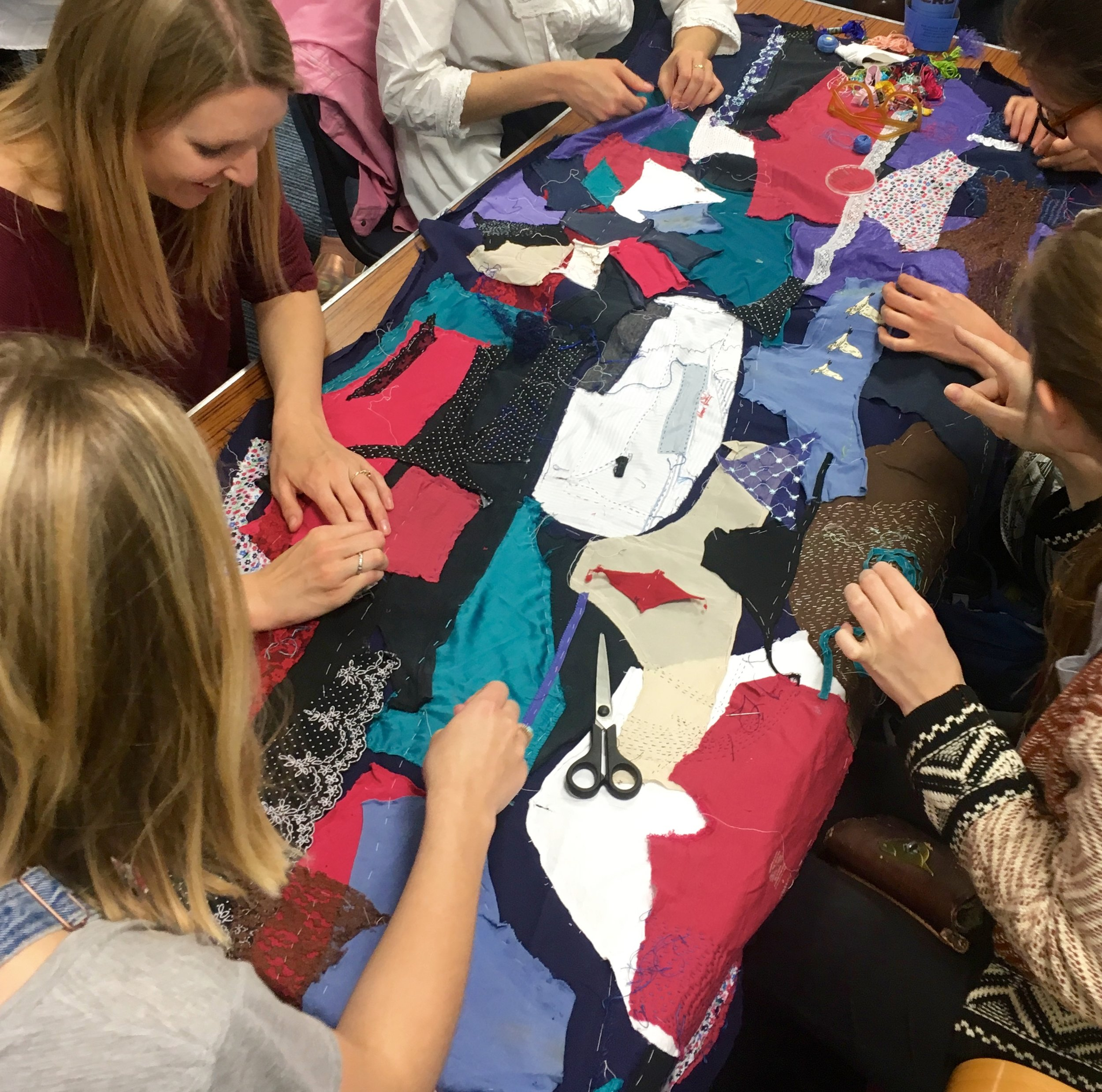 Midwifery Students quilting at The International Day of the Midwife celebrations, King's College, London.
