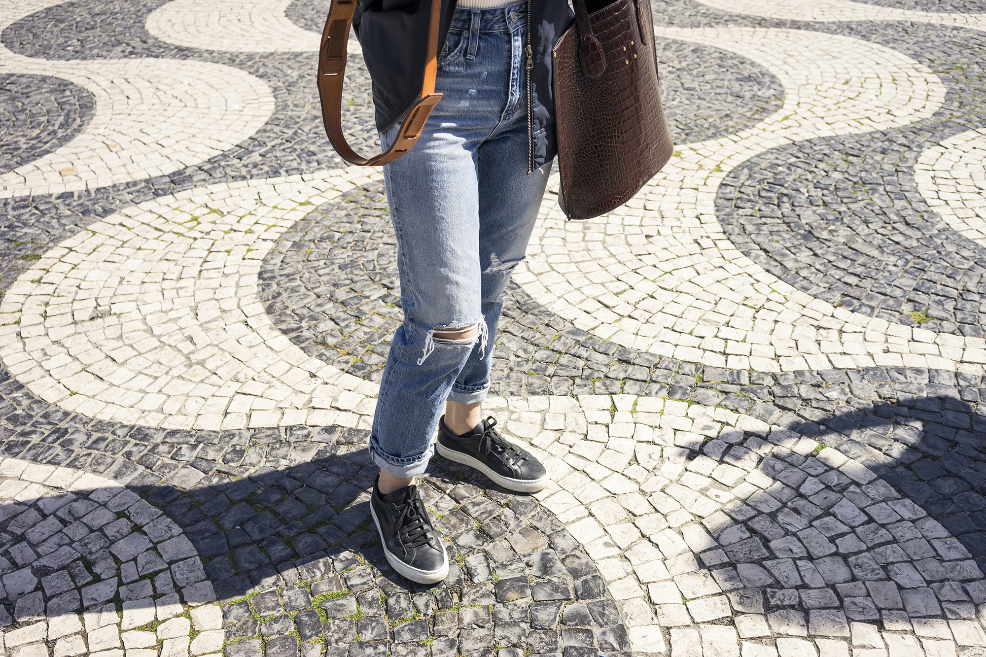 Alice is wearing  AG Jeans  //  Common Projects sneakers //  Mini Aubock bag from Trademark