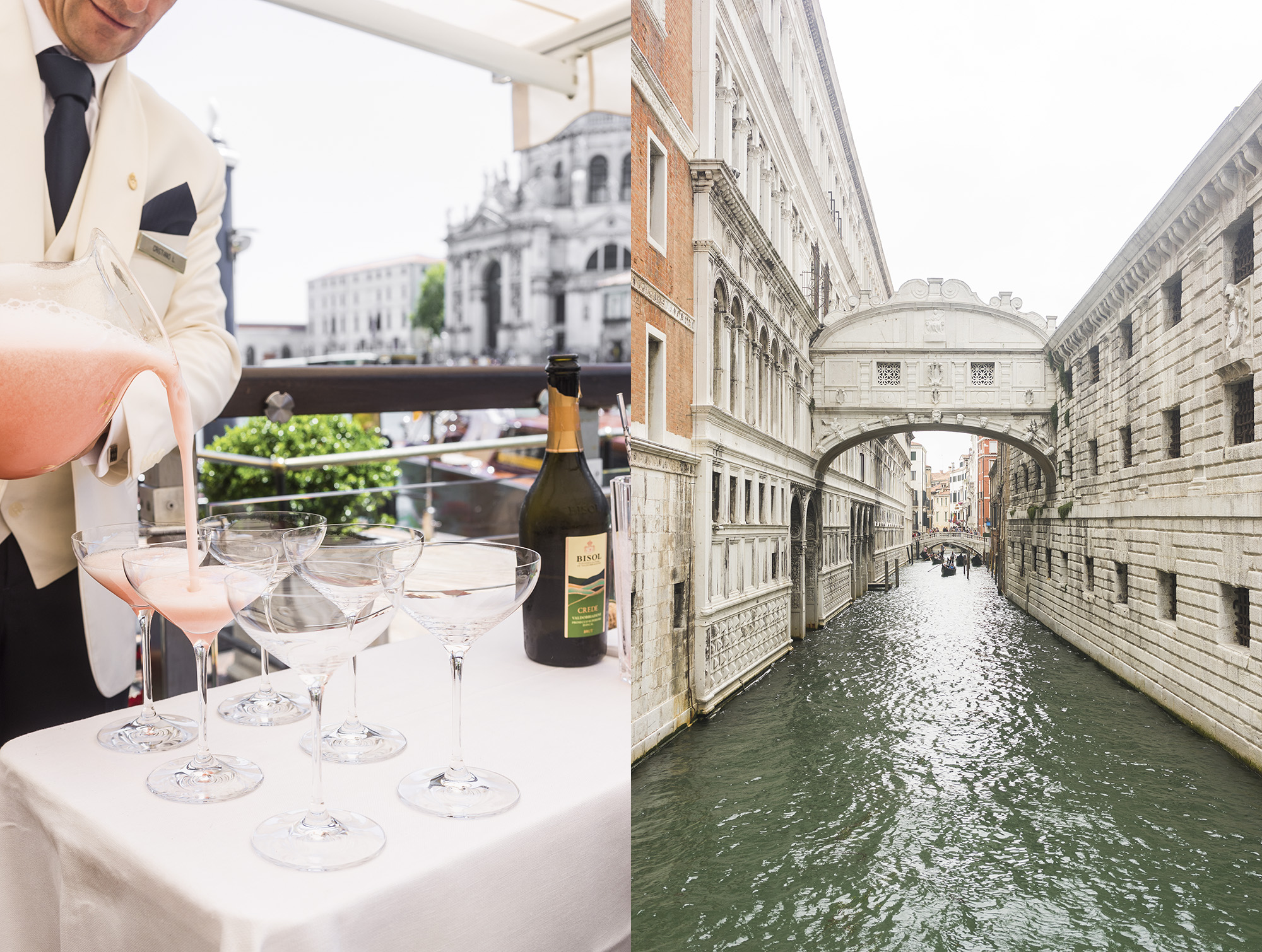 Bellinis at the RIVA Lounge, Gritti Palace  //  Bridge of Sighs