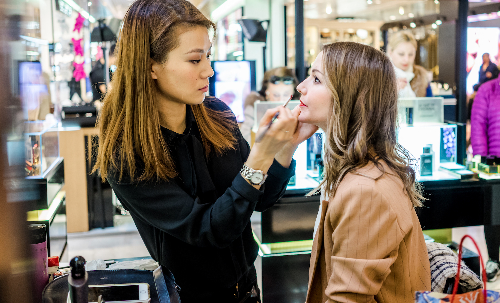 Getting my make-up done at YSL Beauty.