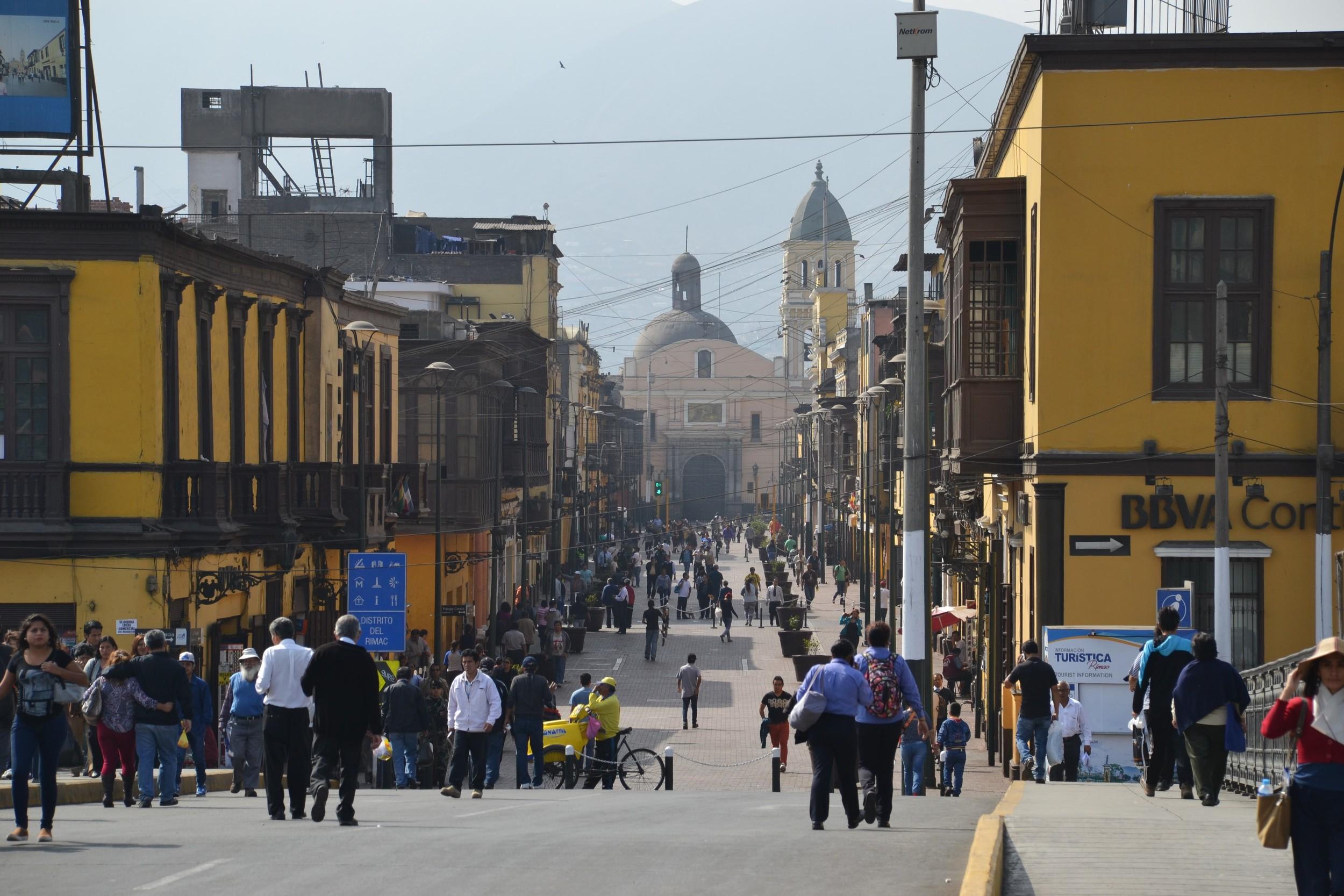 Across the bridge to downtown Lima