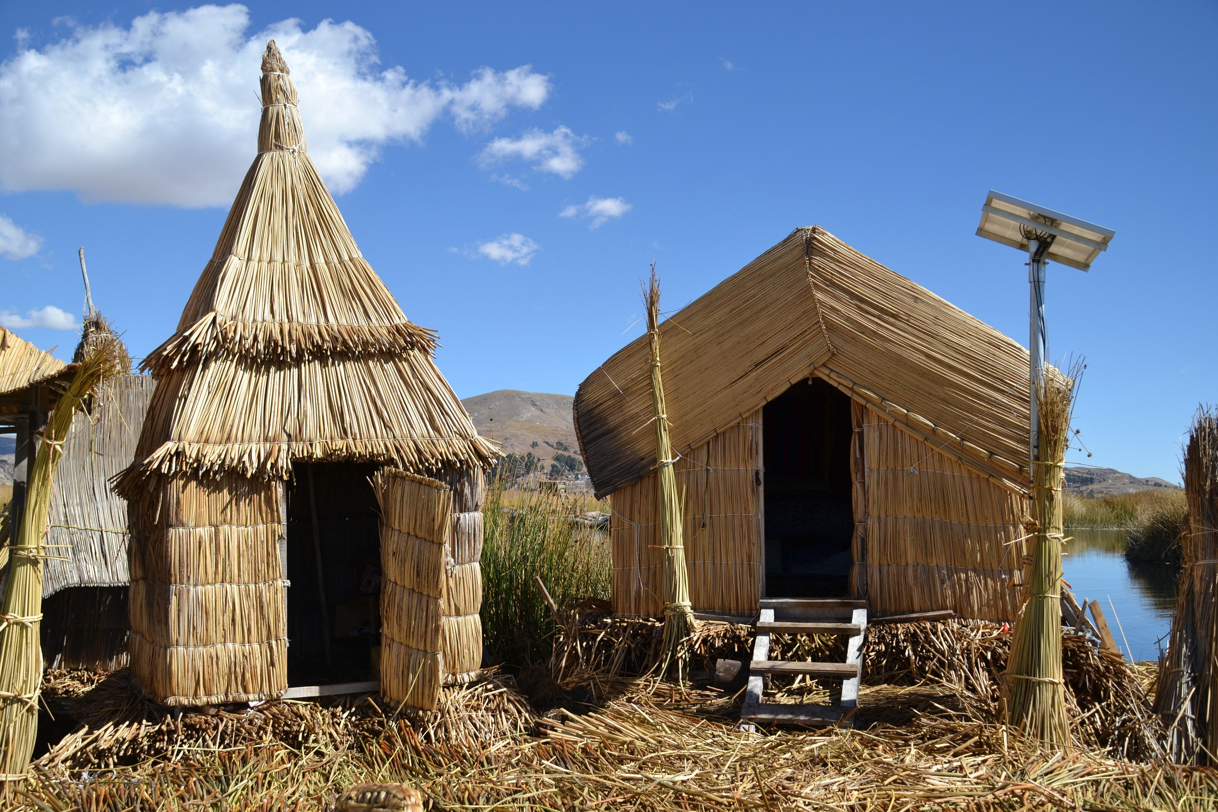 Interestingly, the Uros people have adopted solar panels, bringing them electricity.
