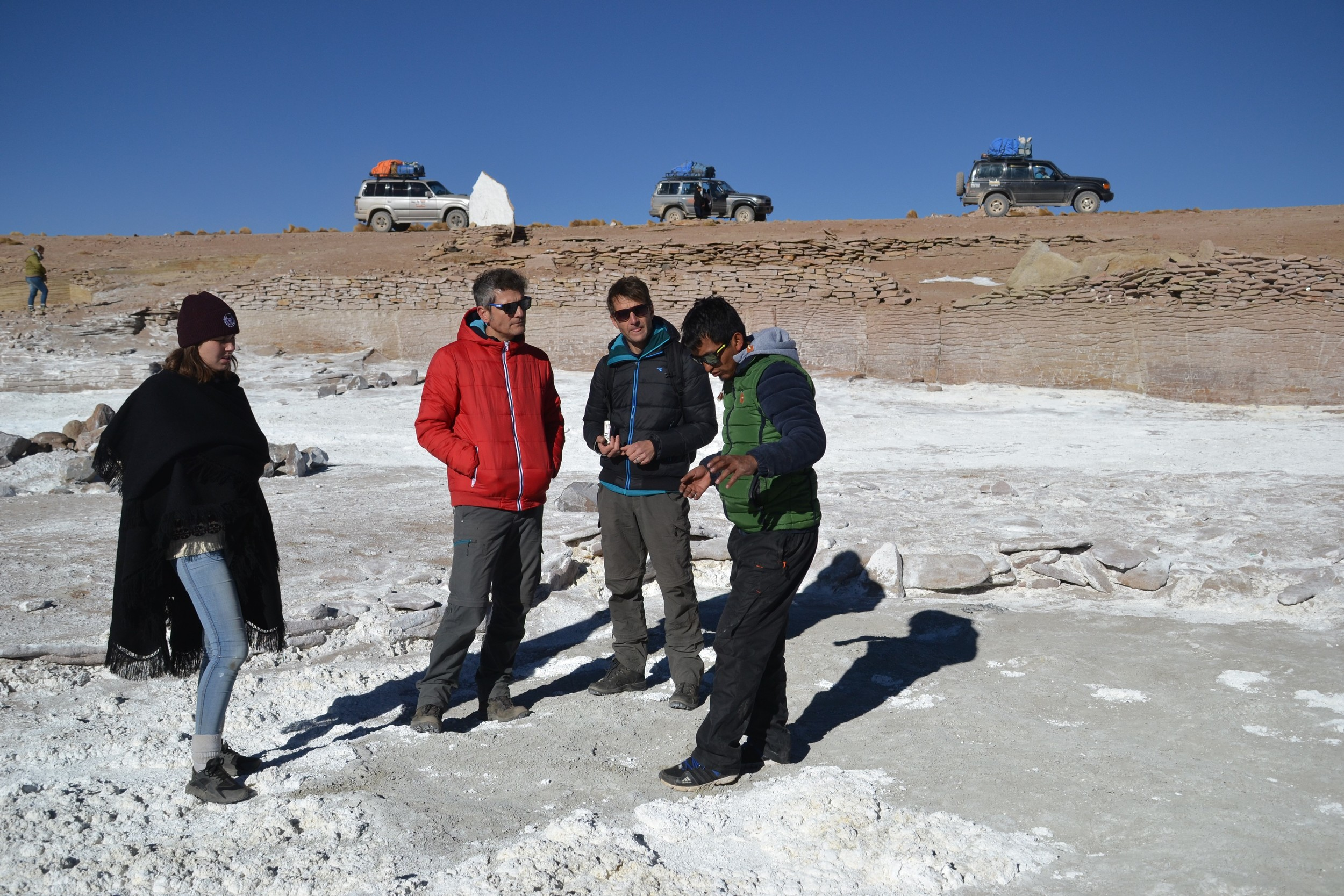 My group in the cold, while Mayco explains a salty lake to us.