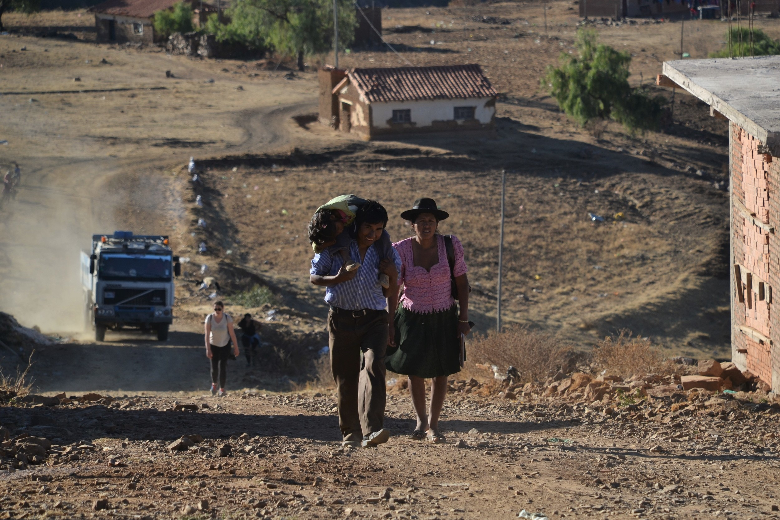 A family in a small Bolivian town.