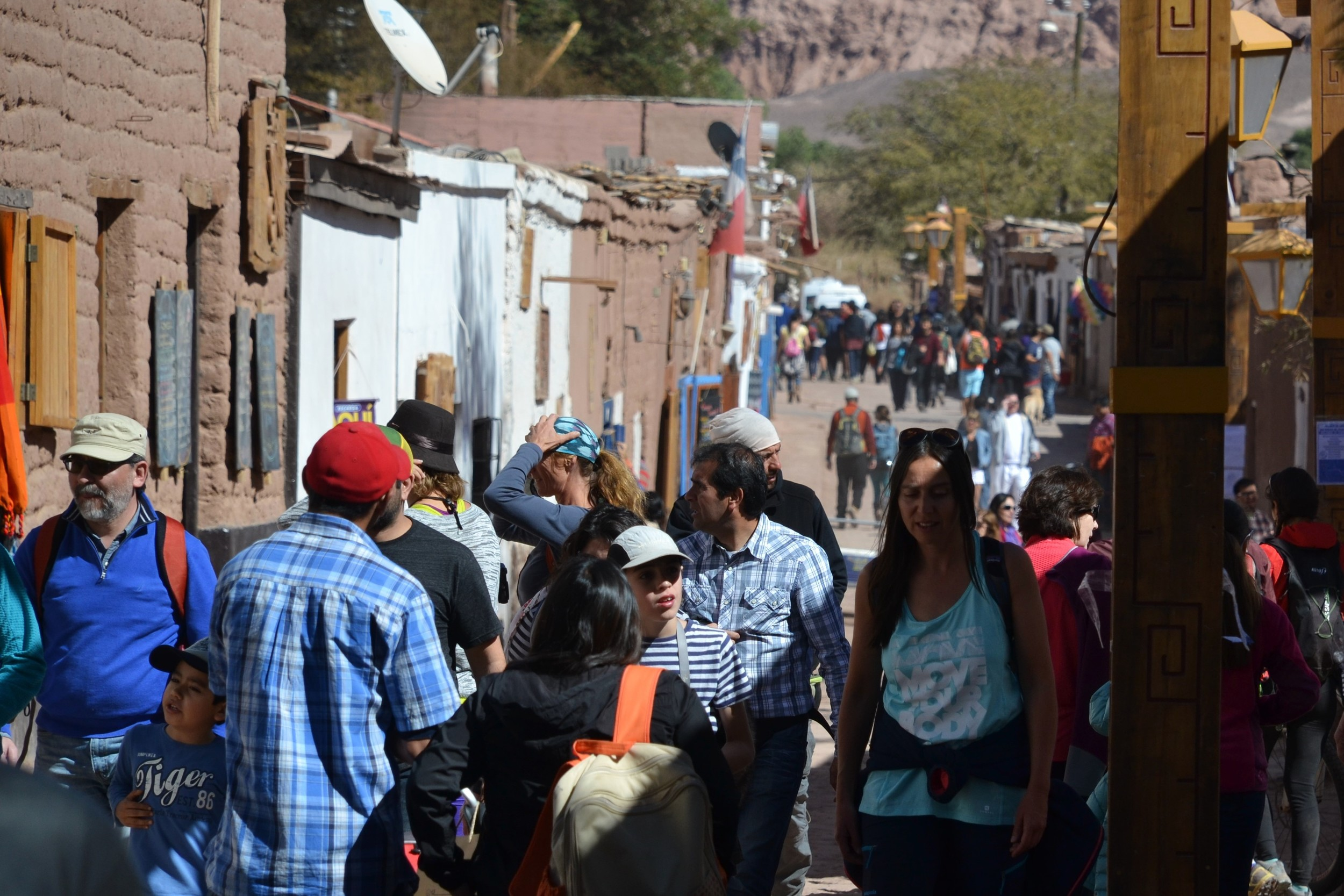 The crowded streets of San Pedro de Atacama.
