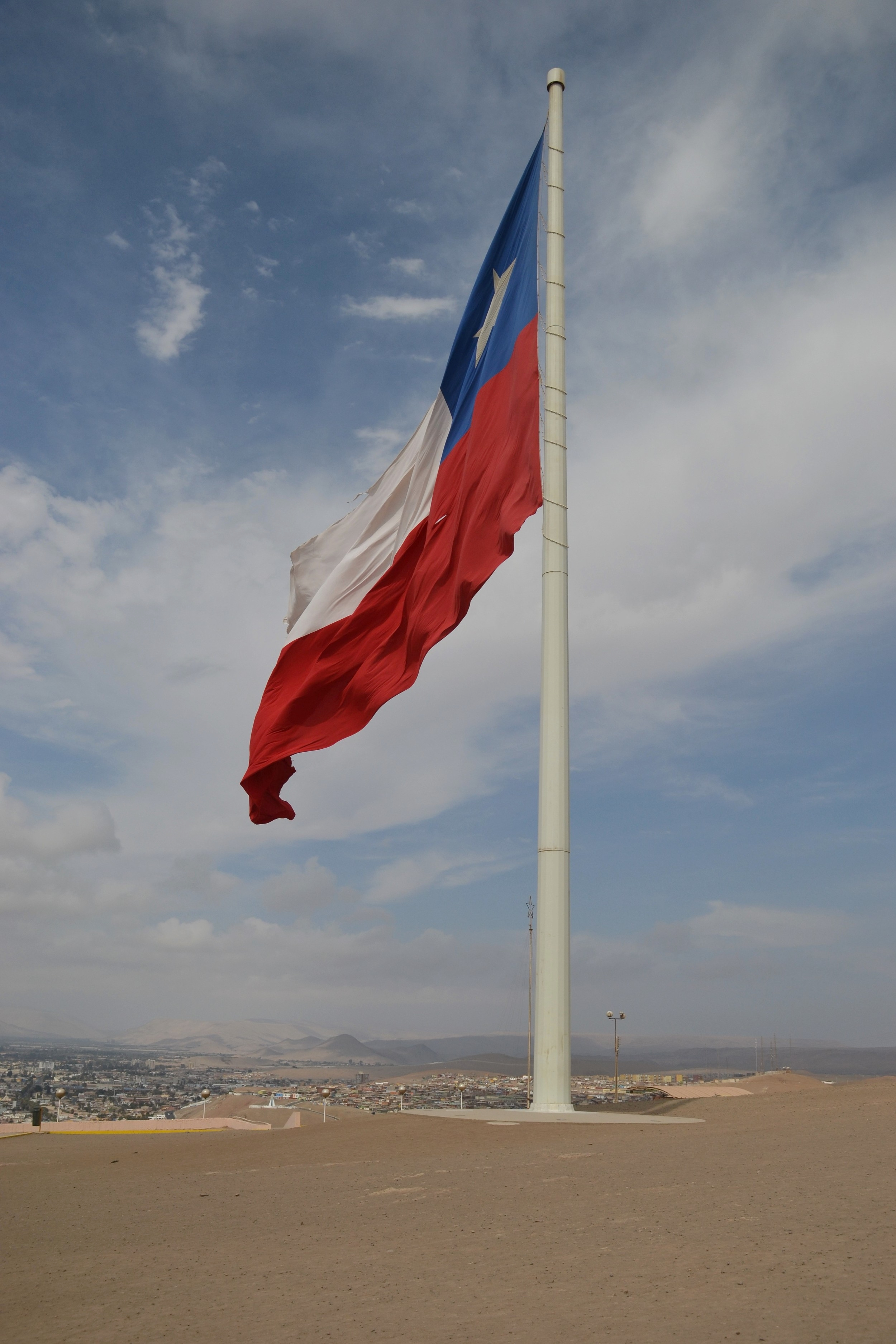 The Chilean flag flying over Arica, the country's northernmost city.