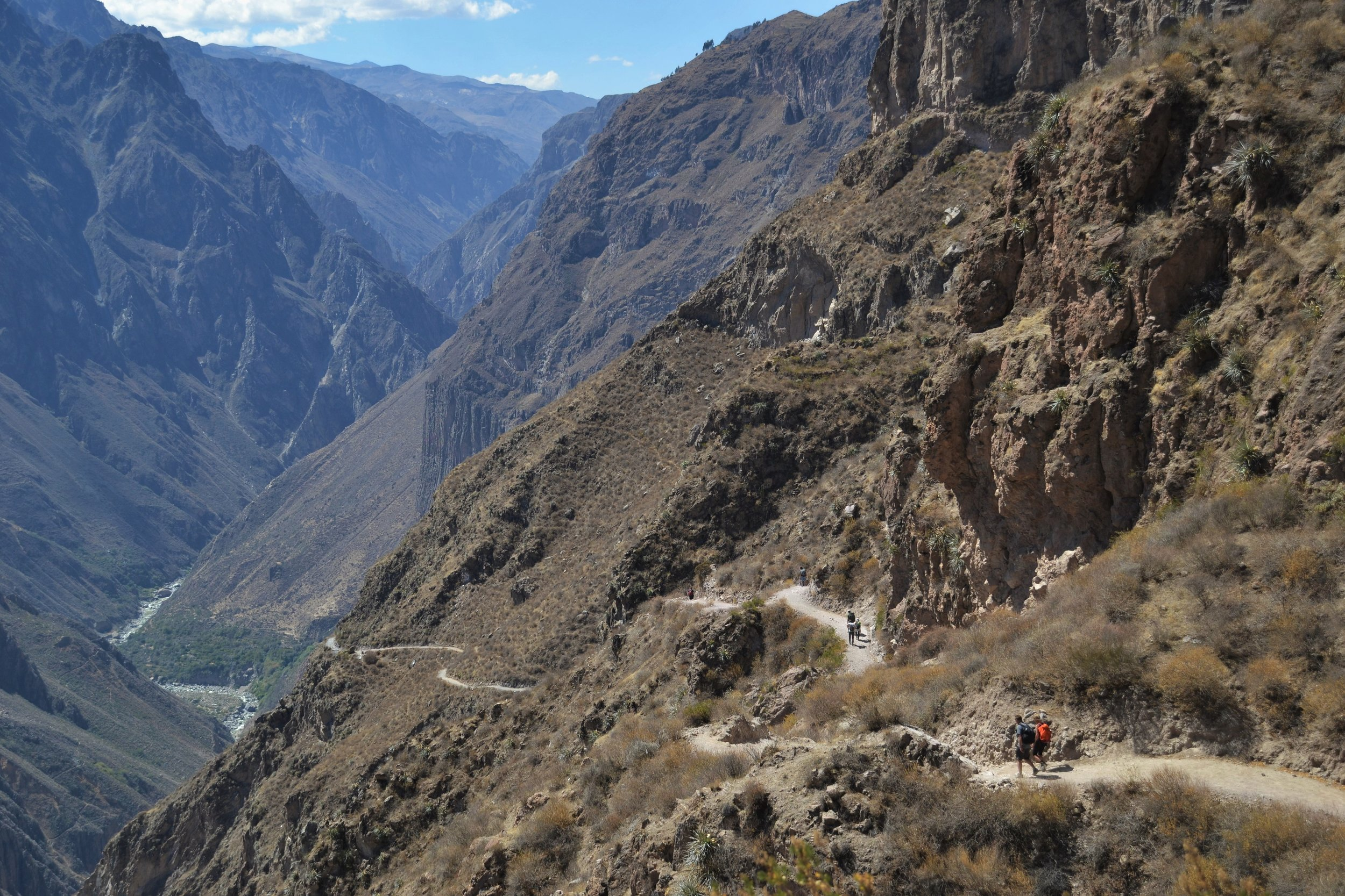Trekking along the Colca Canyon.