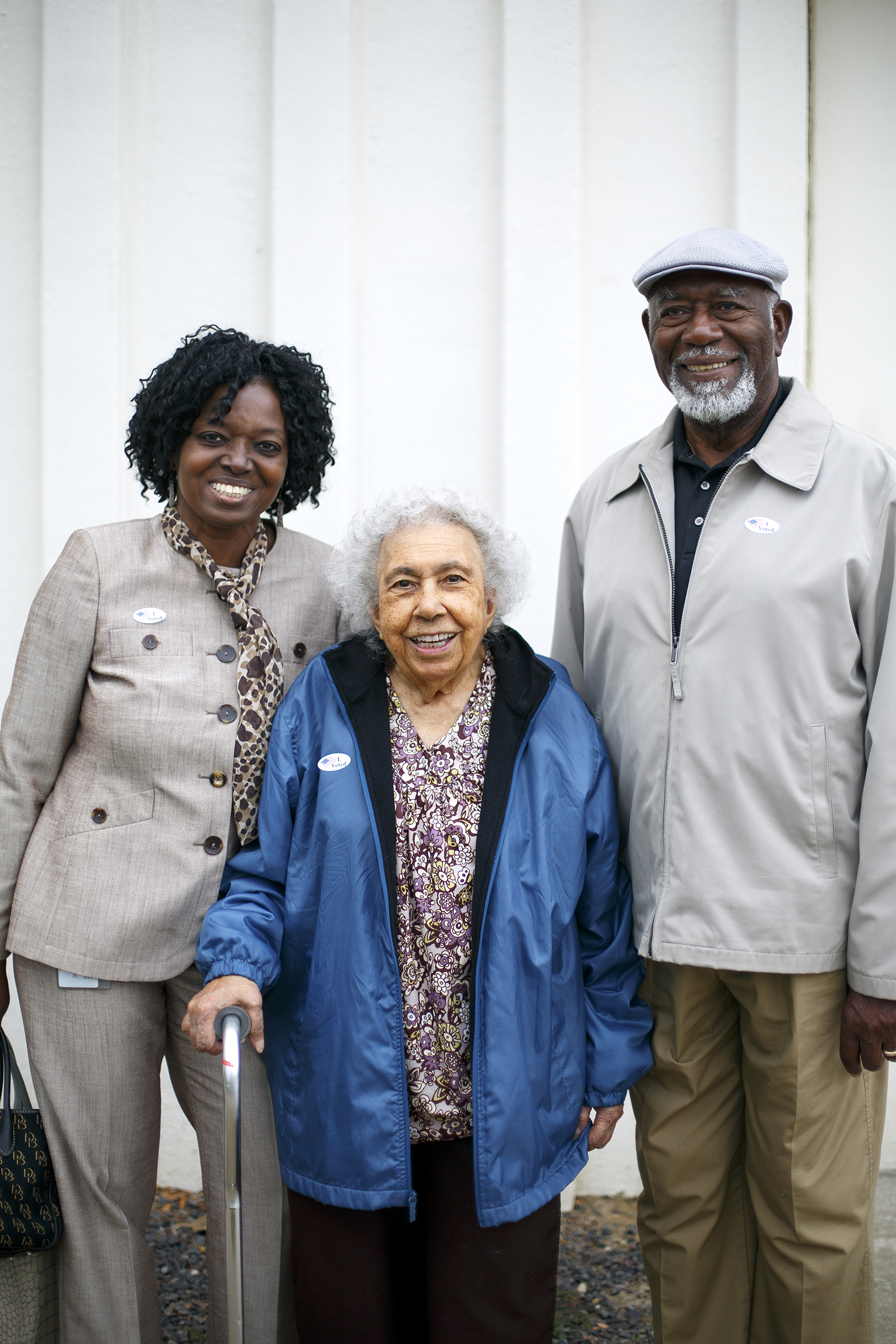 Tina Lathan, left, and her parents Dorothy and James Nixon, 2:43 p.m.