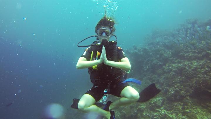 Going zen on a underwater shoot in Indonesia