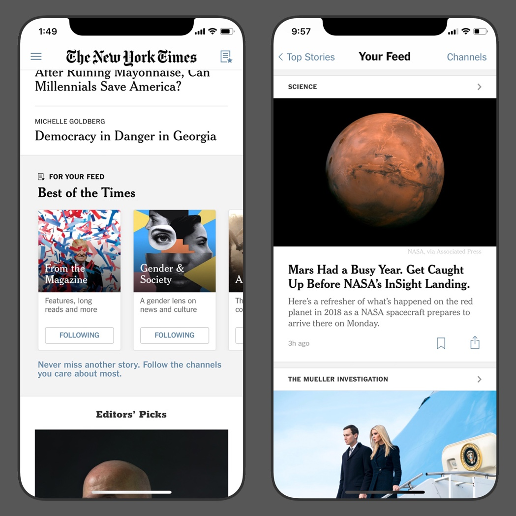 Customizing The New York Times - Your Feed is a new space in The Times iOS app. Readers can follow channels, giving them more control over their experience.Learn more ➝
