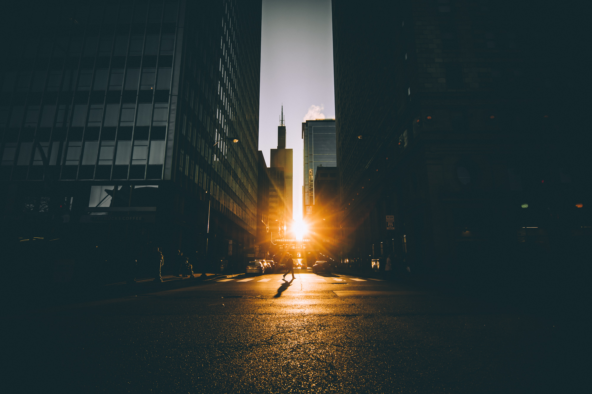 Chicago-walking-sunset