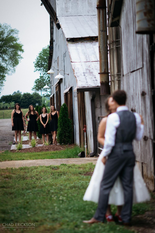 Bridesmaids watching first look