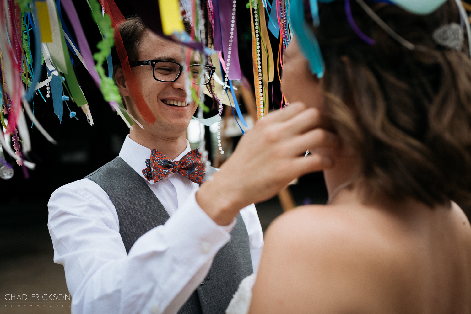 Couple under streamers
