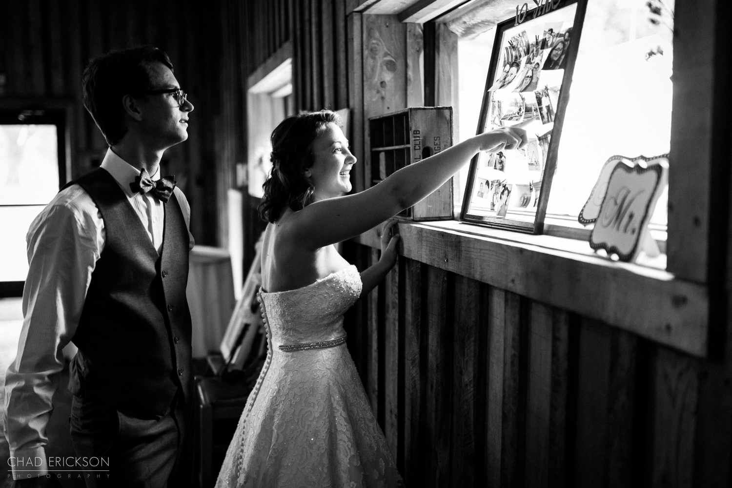 Bride pointing to pictures