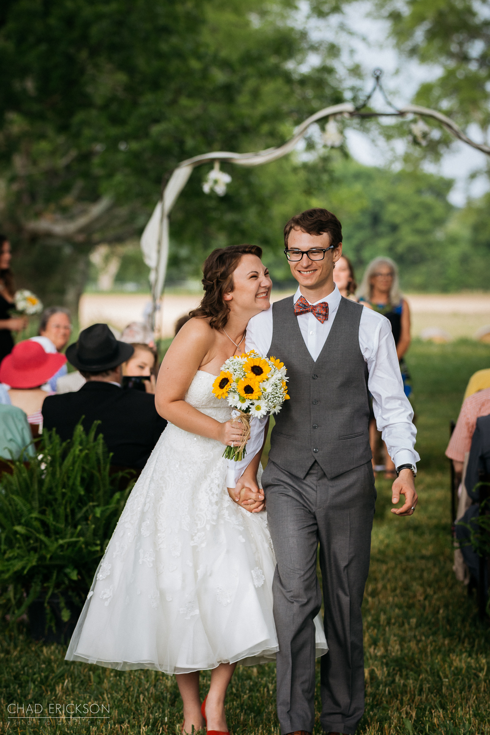 Walking out after ceremony