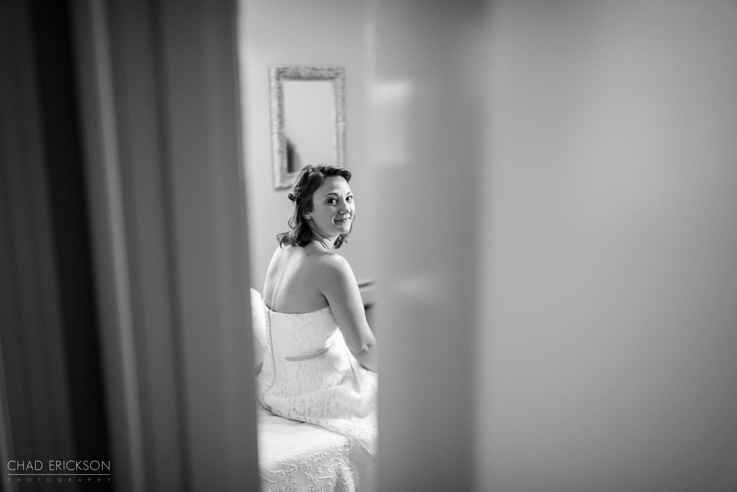 Bride in dressing room photojournalistic photo