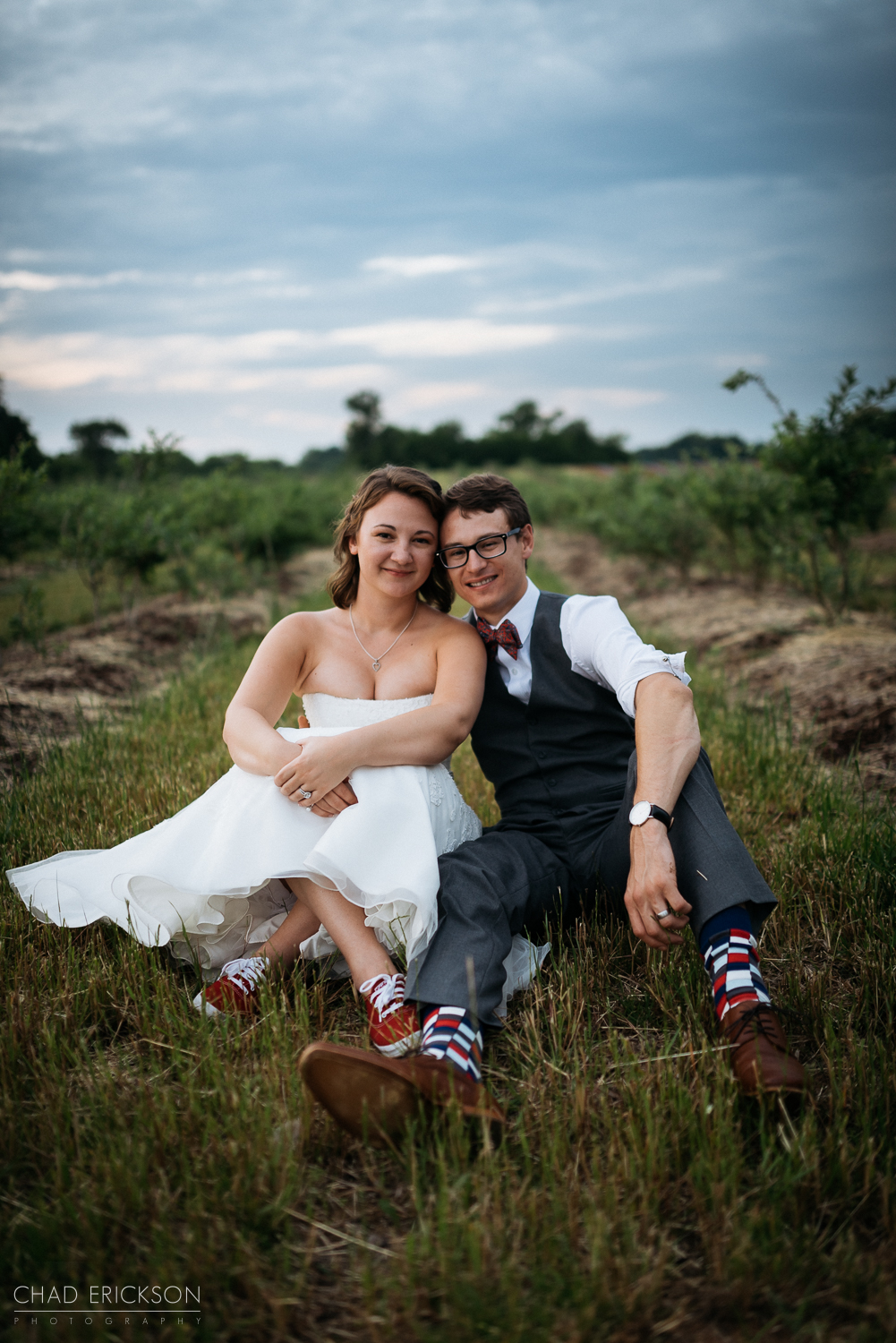 Adorable sunset wedding portrait at The Grove