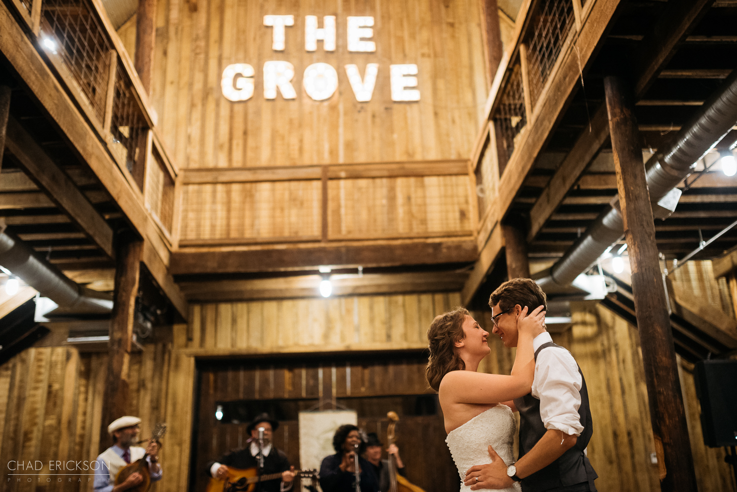 First dance under The Grove sign