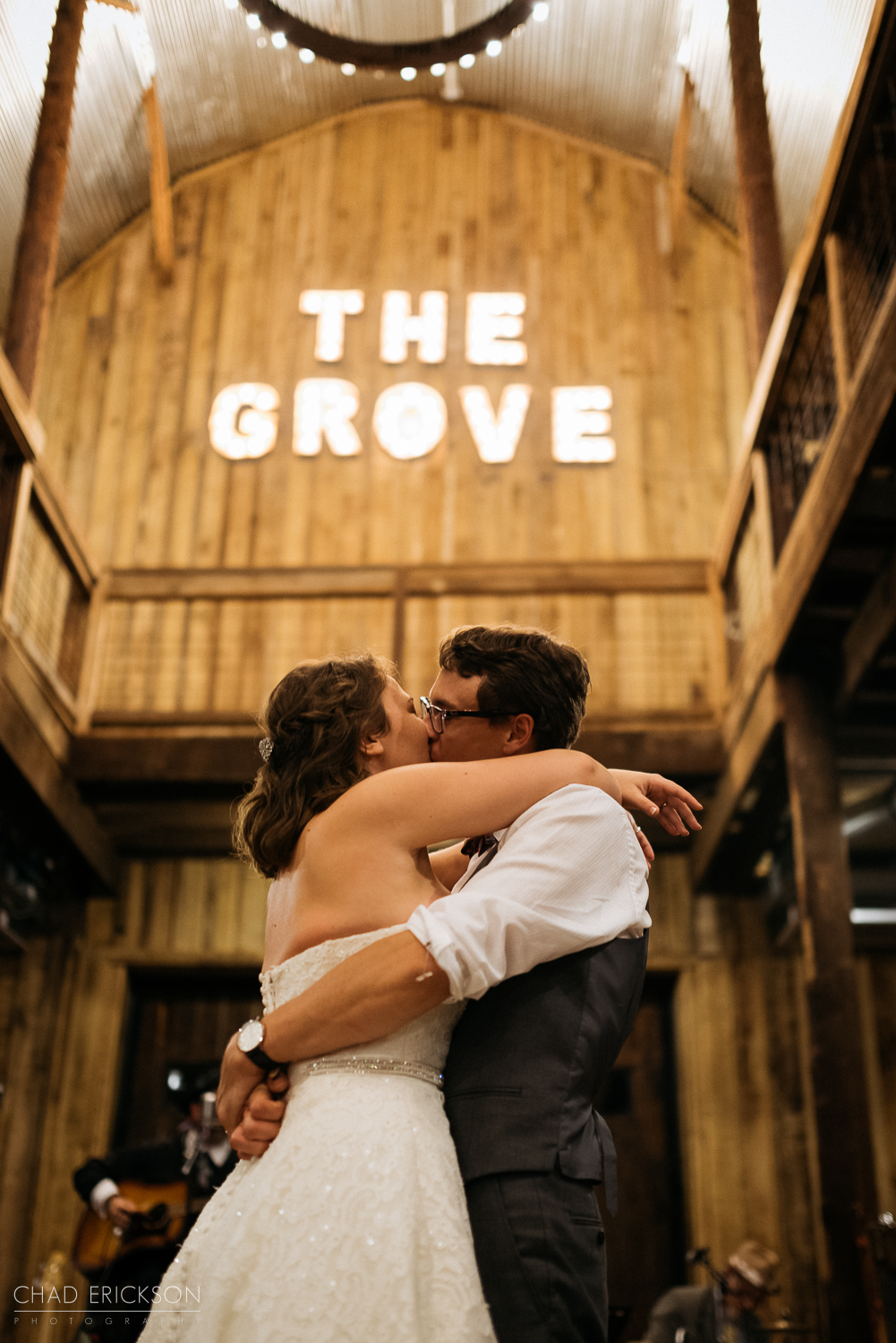 Bride and groom dancing under The Grove