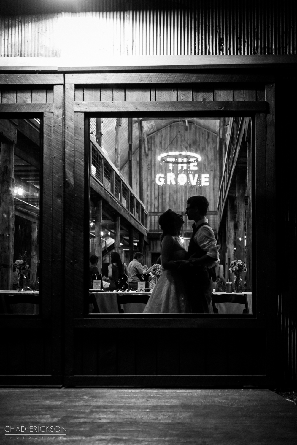 Great natural light black and white wedding portrait
