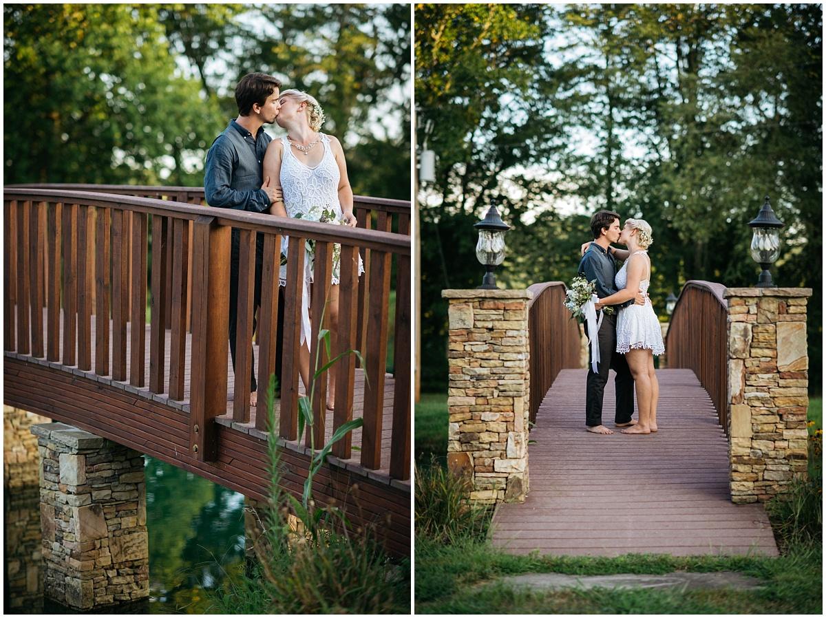 Bride and groom on McGuire's bridge in Murphy, NC