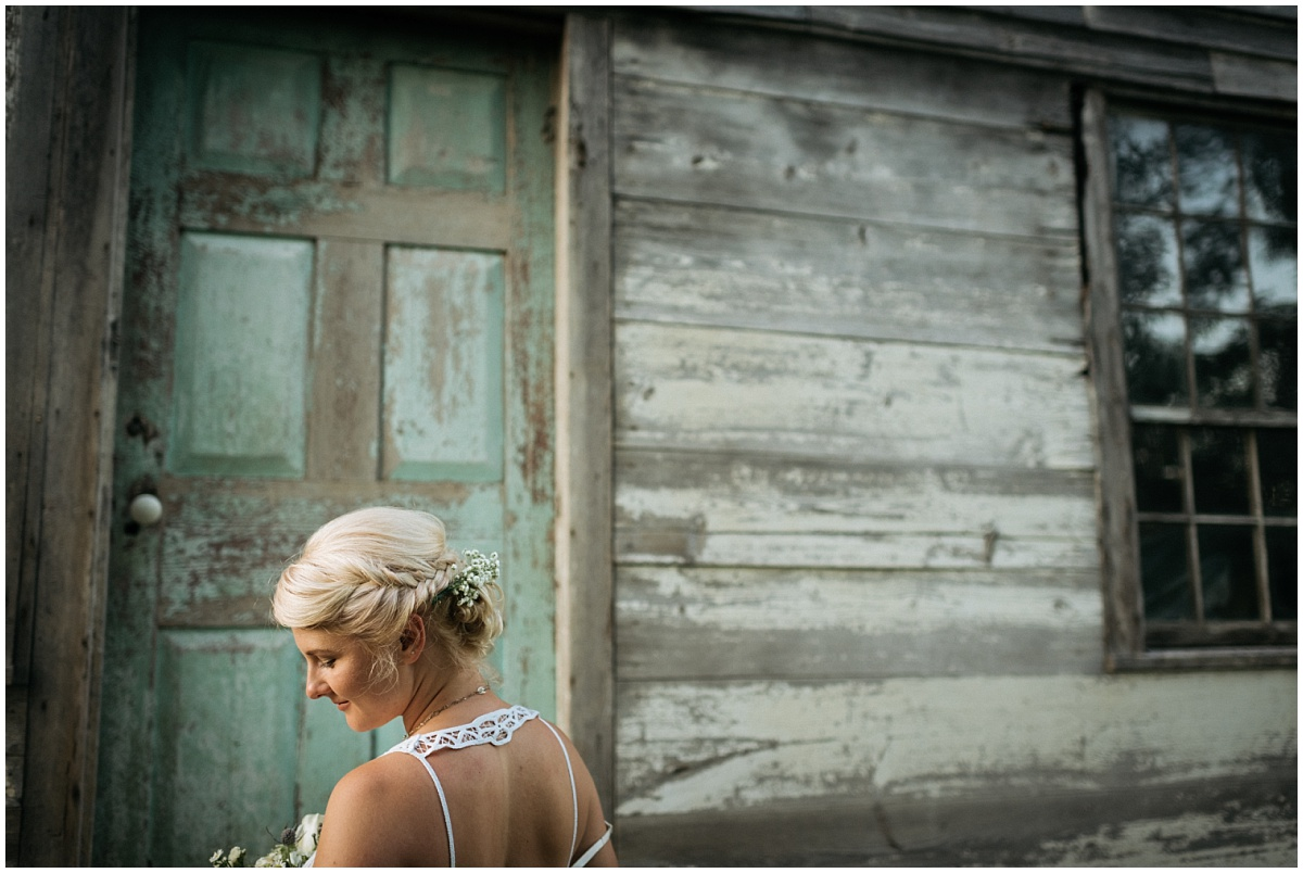 Bride at farm house in Murphy NC