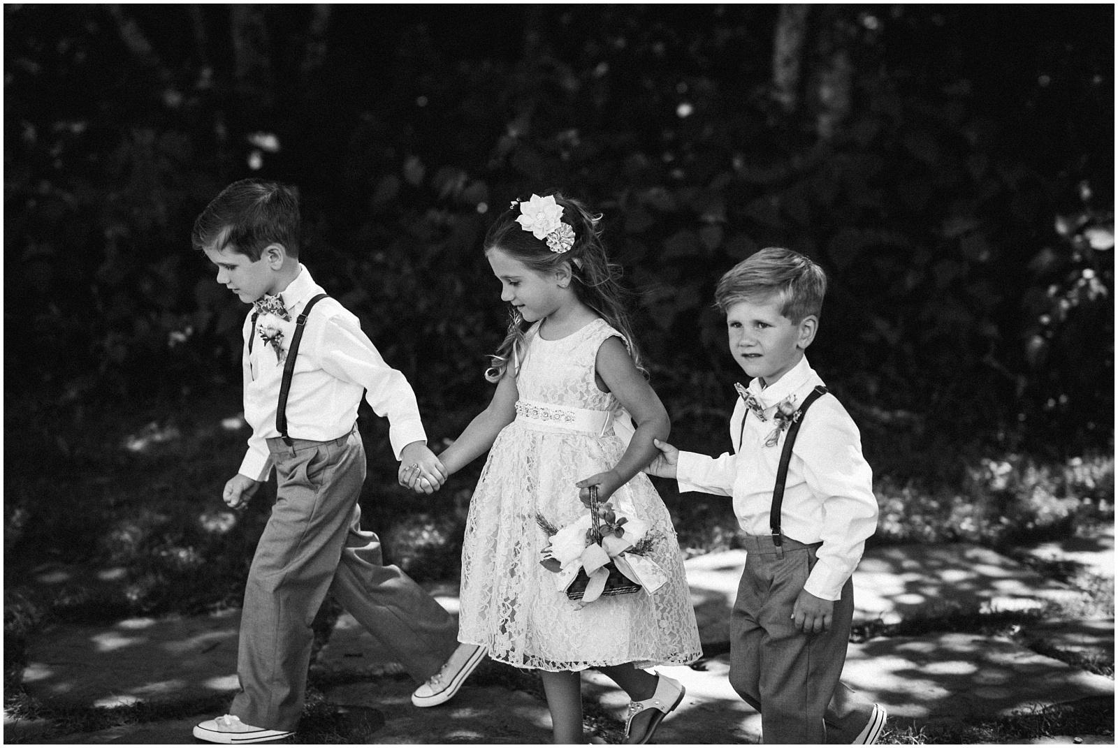 Kids walking aisle Wayah Bald in Western NC