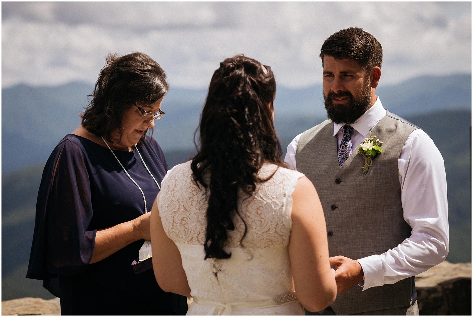 Ring exchange during wedding at Wayah