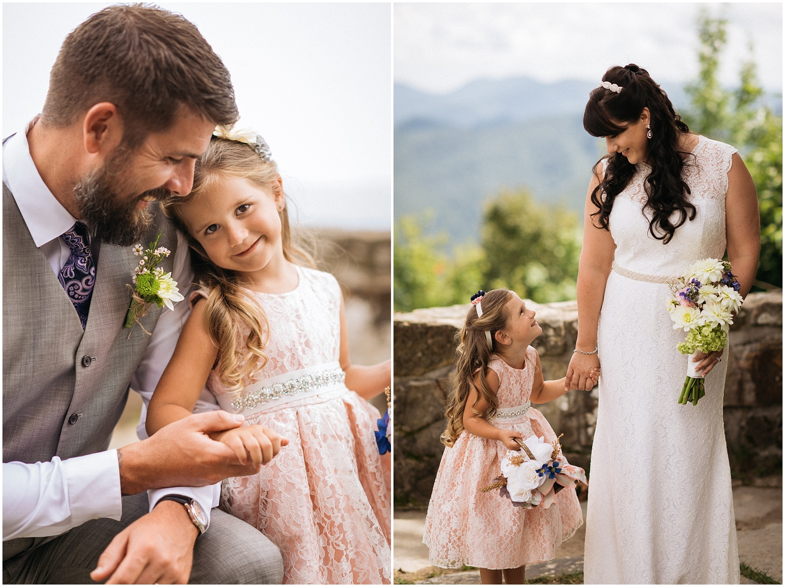 Wedding candids with kids in Western NC
