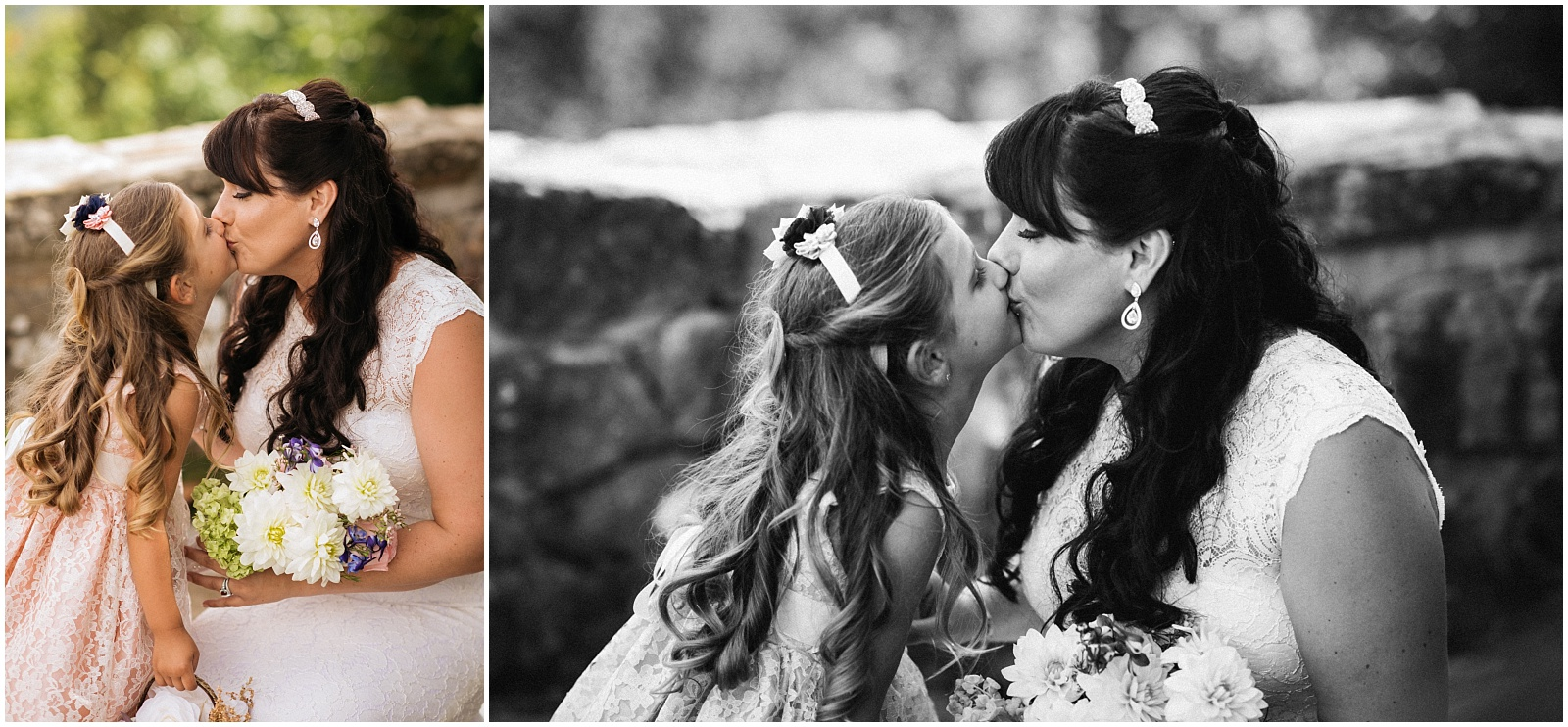 Bride and daughter kissing