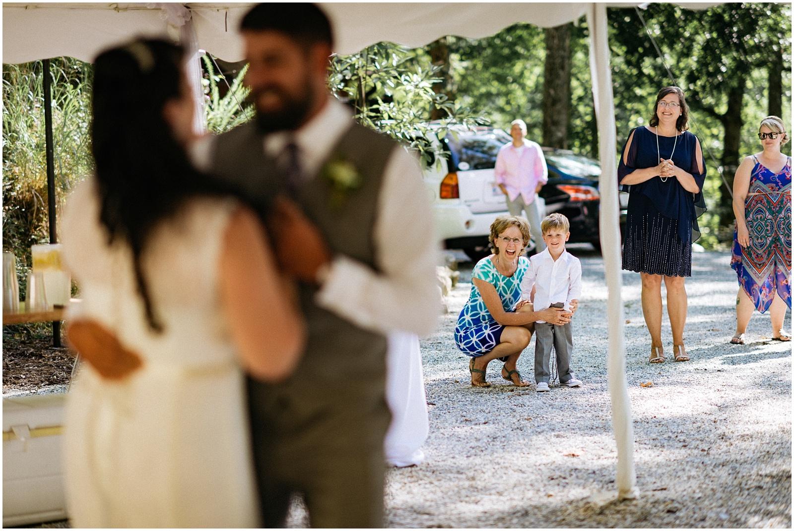 Boy watching dance at Nantahala Wedding