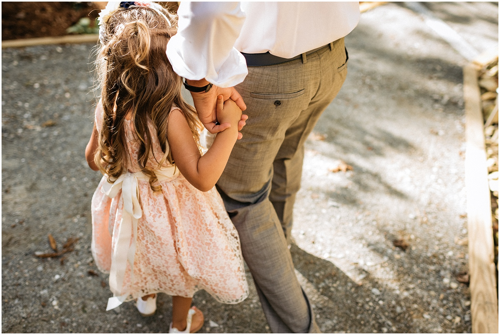Father daughter walking