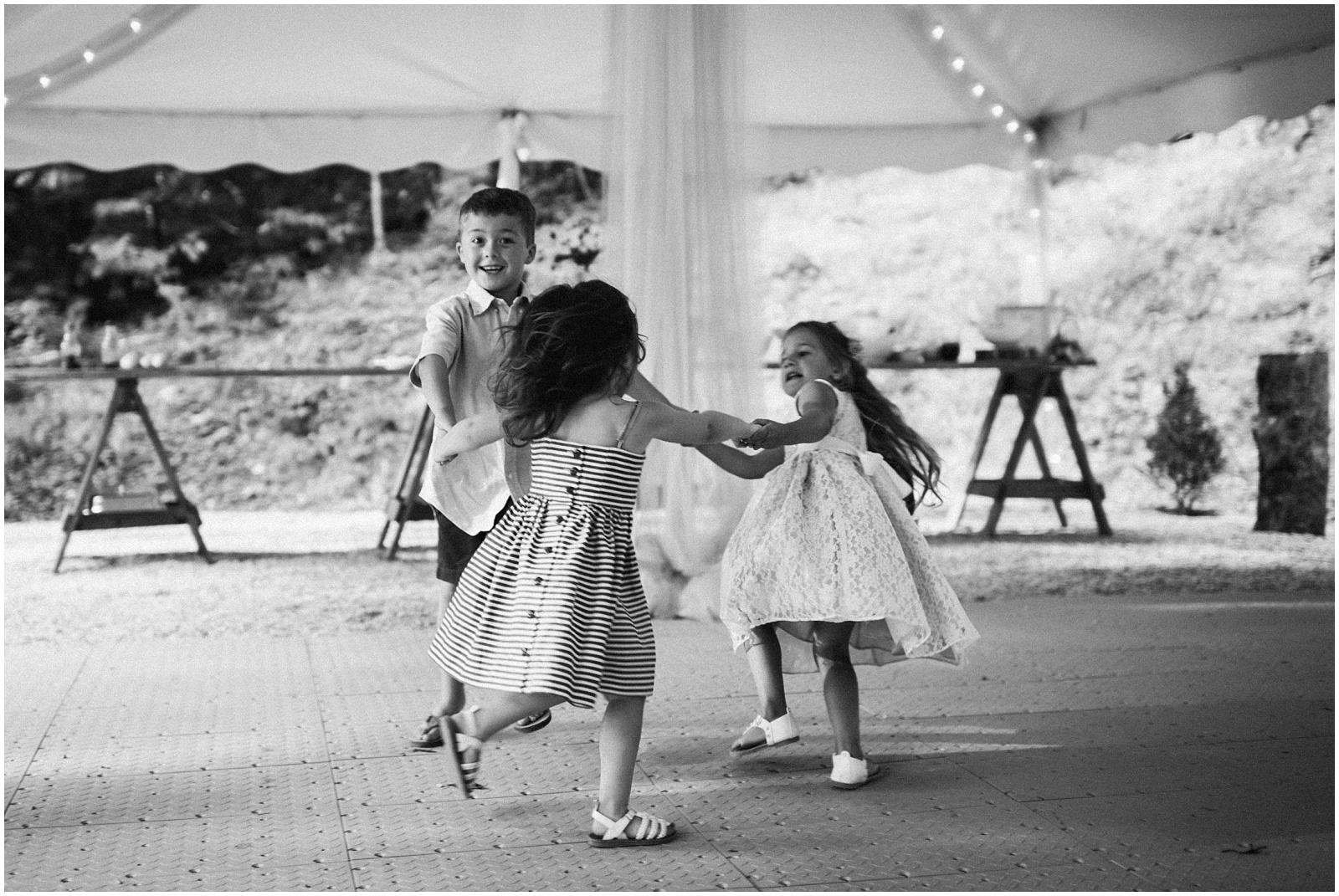 B&W kids dancing