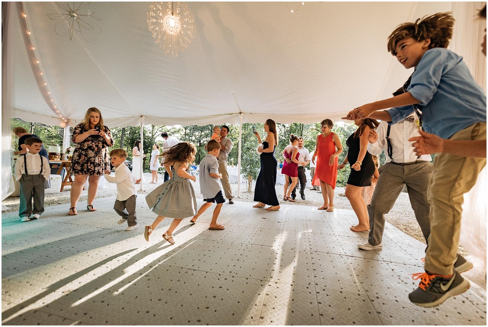 Large group dancing photo at nantahala weddings
