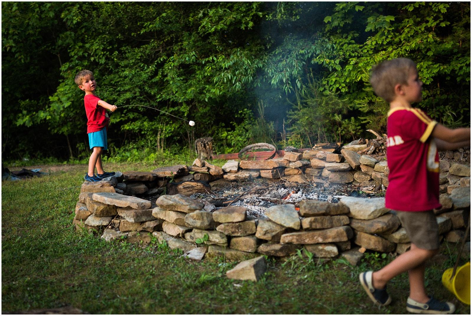 Kids roasting marshmallows