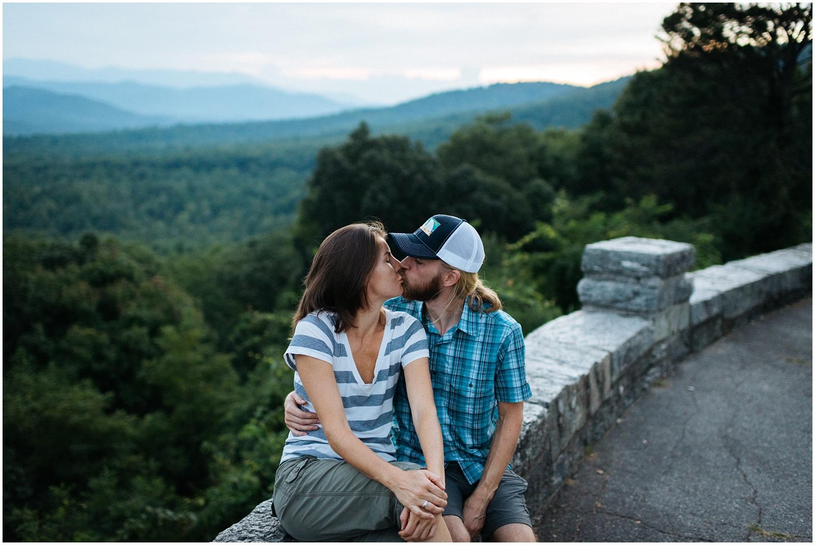 Kissing on Blue Ridge Parkway