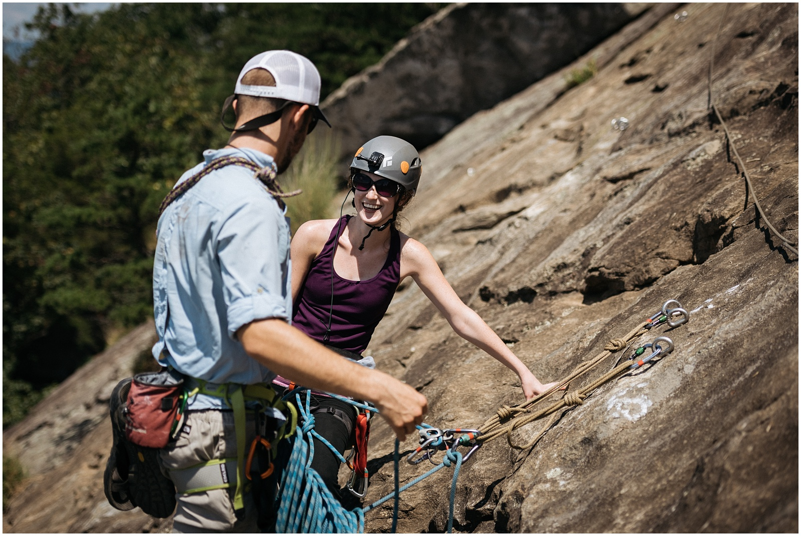Candid rock climbing photo