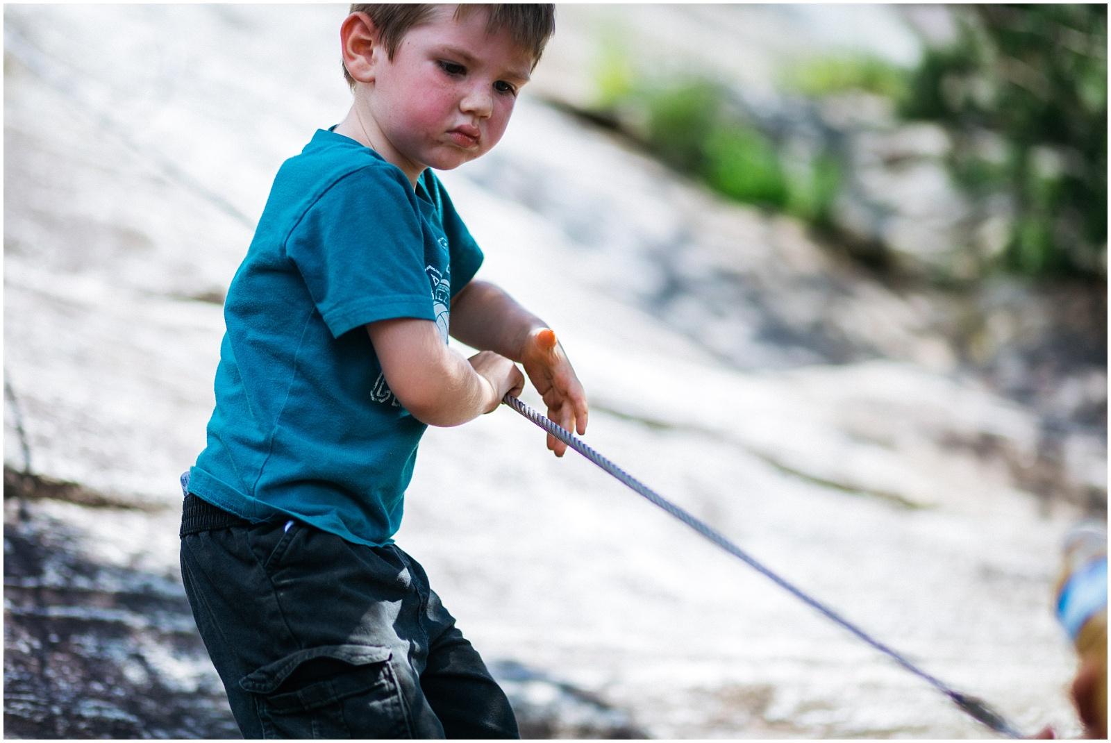 Child climbing ropes