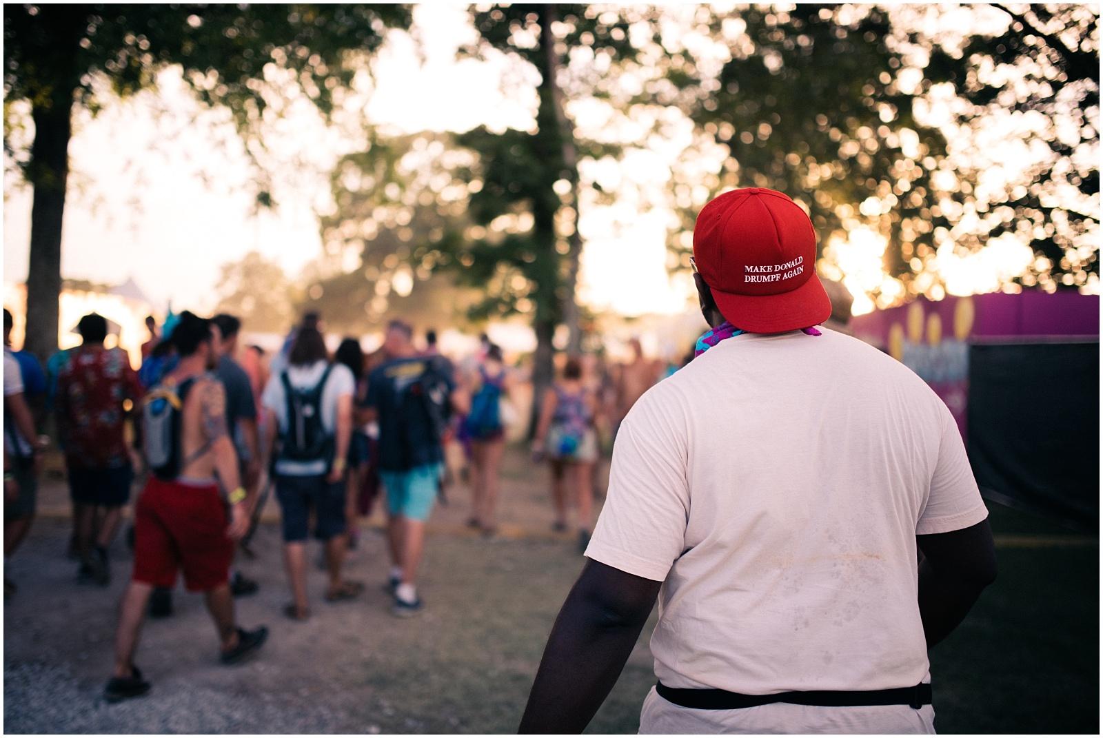 Funny Trump hat at Bonnaroo near Nashville TN