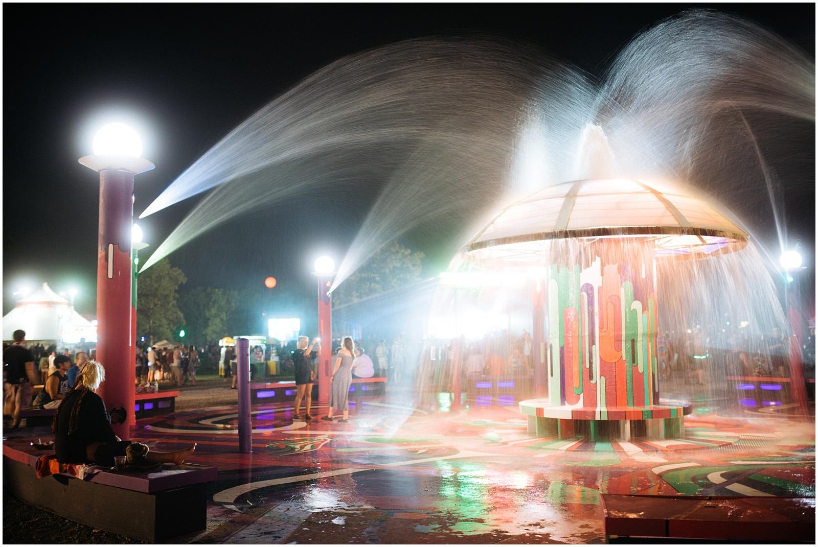 Bonnaroo main fountain at night