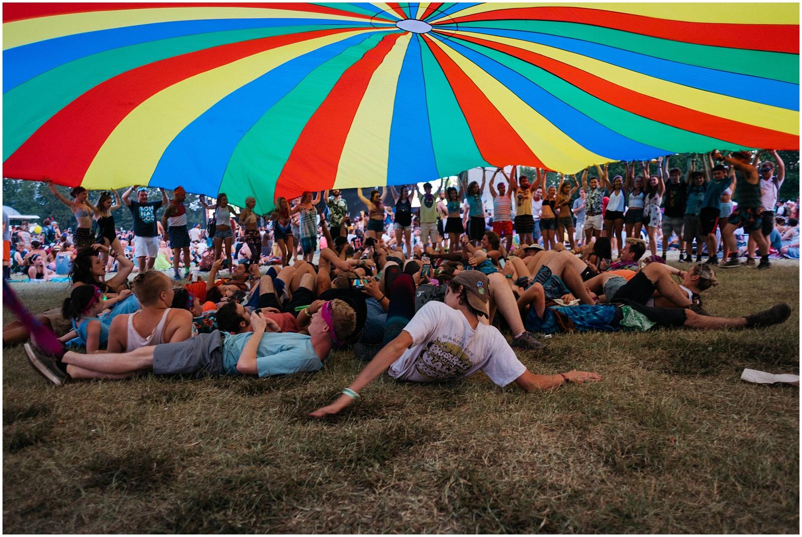 People under parachute at Bonnaroo near Nashville TN