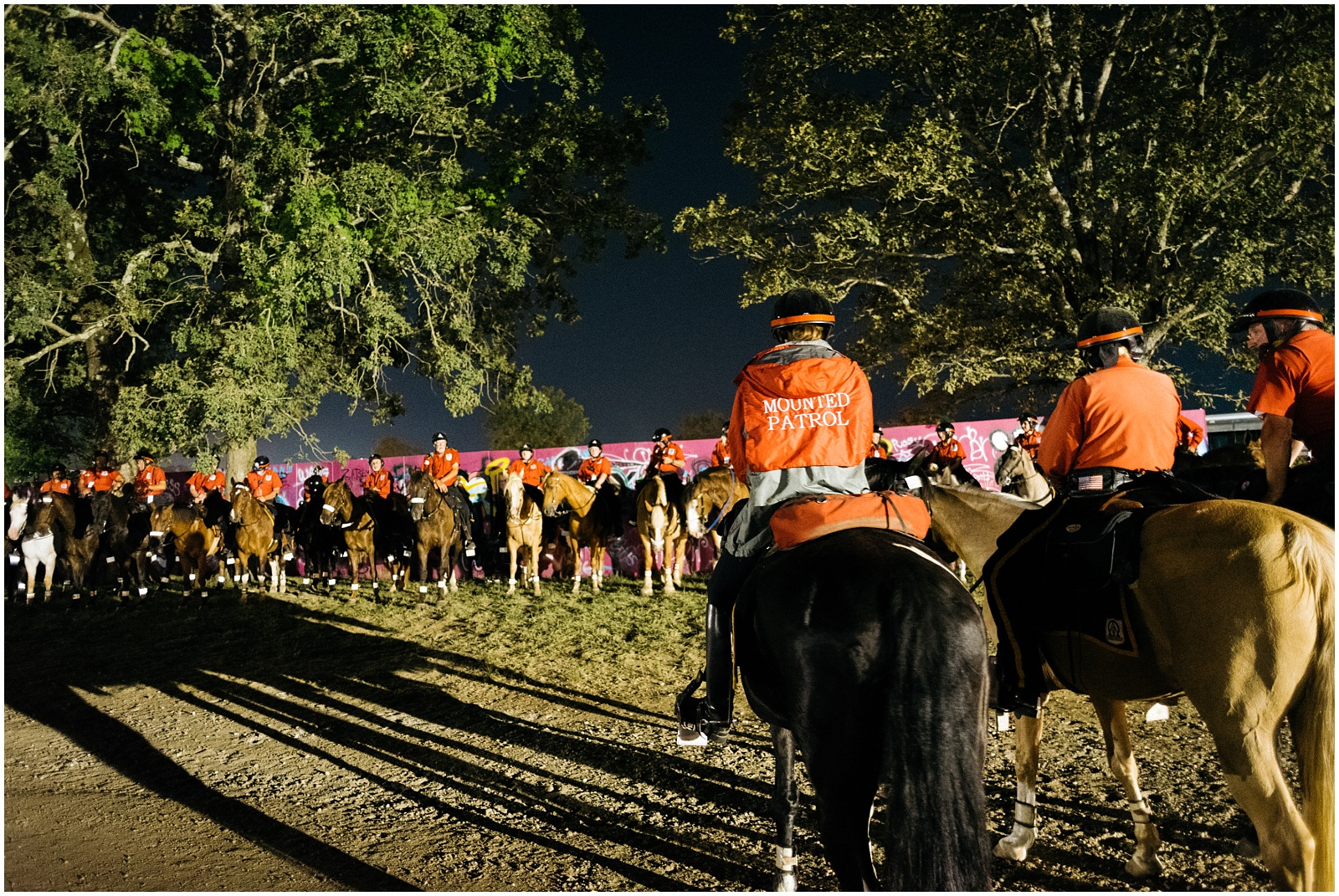 Mounted police at night