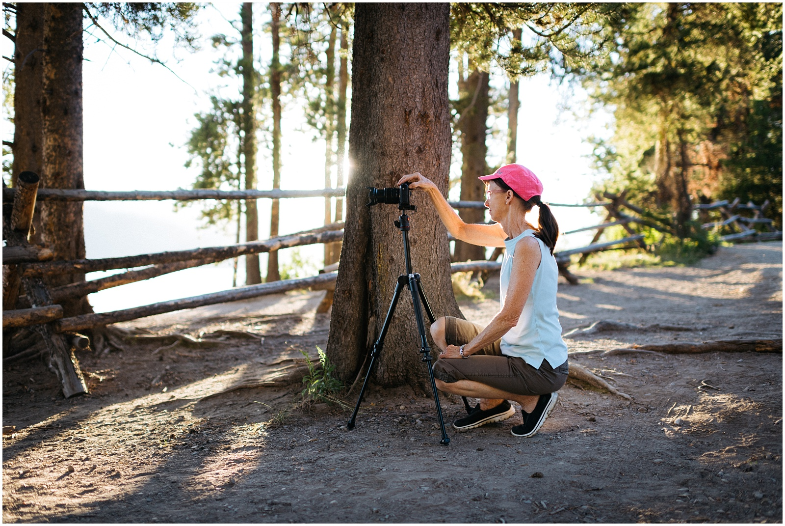 Mom taking pictures of Tetons