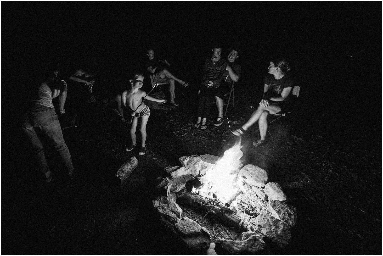 Camp fire with family