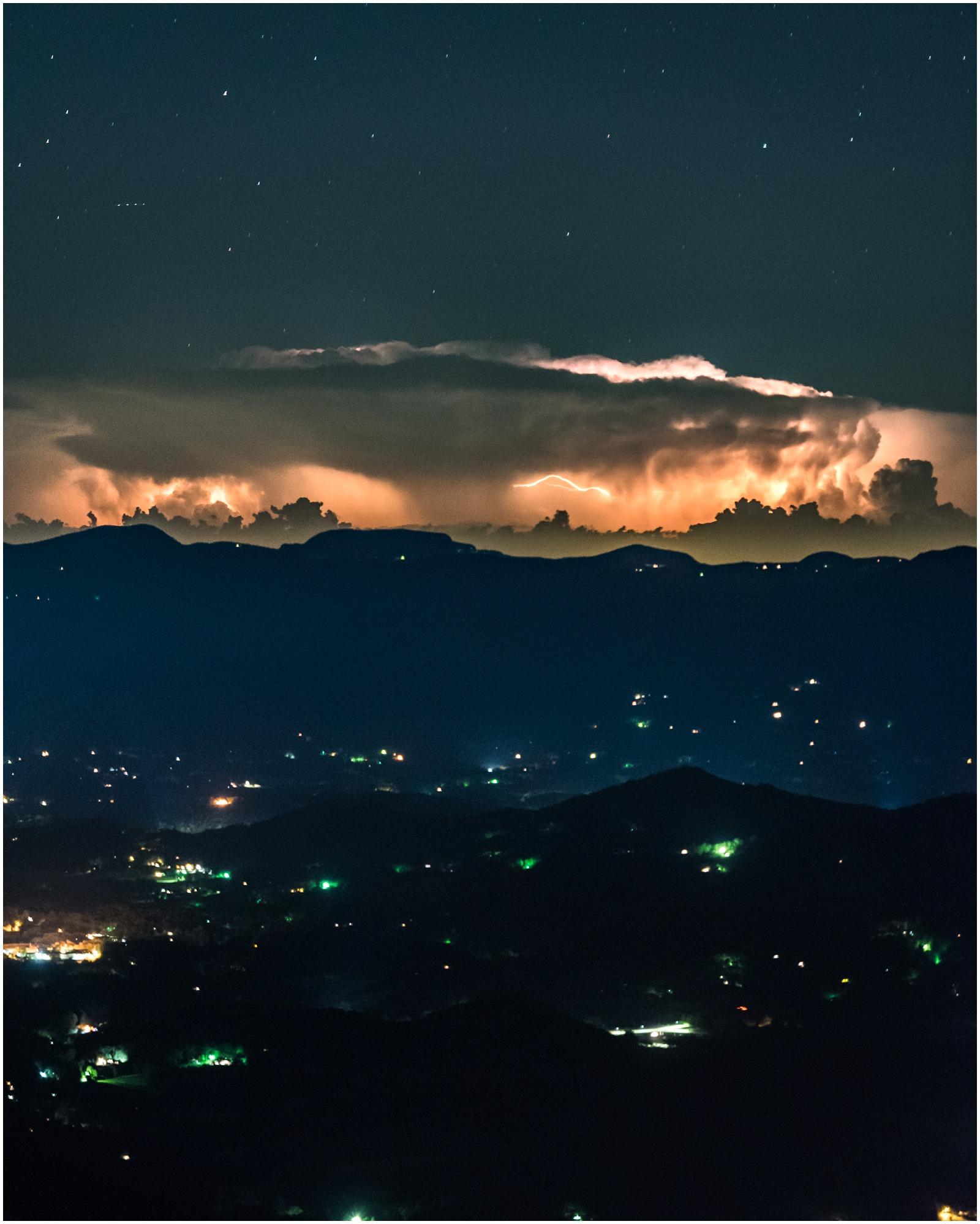 Lightning storm at night on Wayah Bald in North Carolina