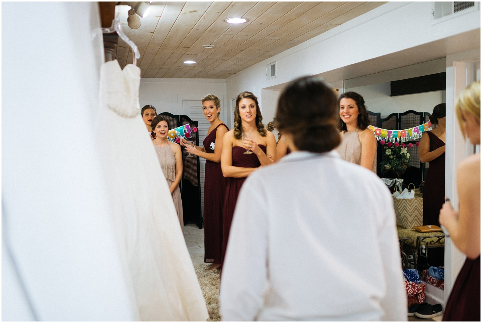 Looking at the bride