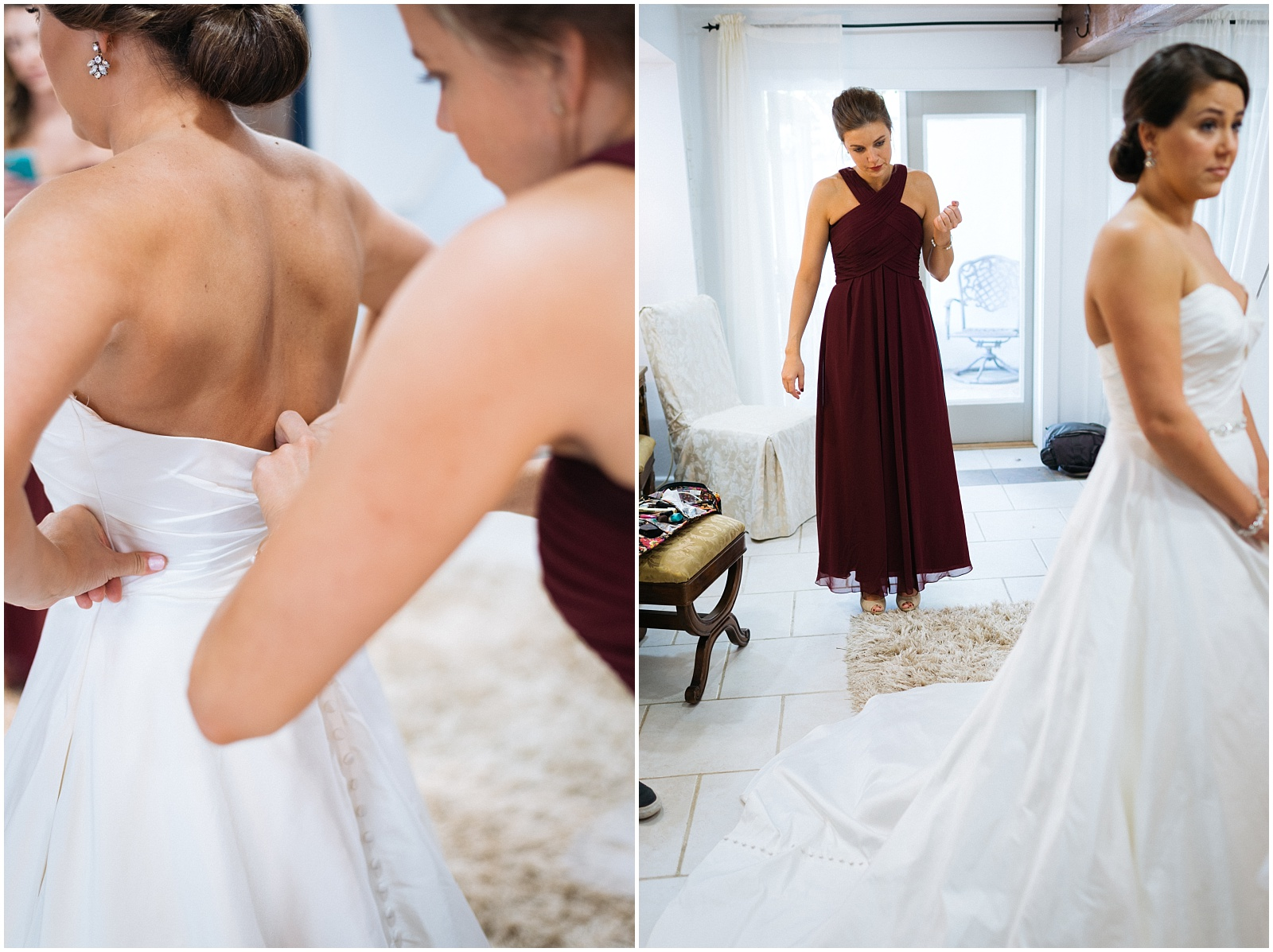Collage of bride getting ready candids