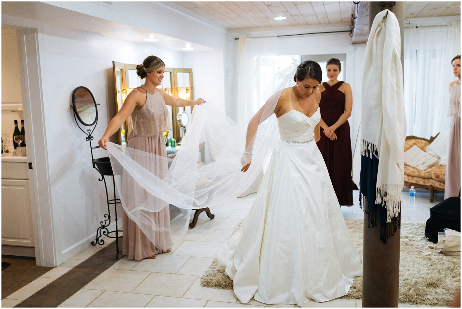 Fluffing gown and veil