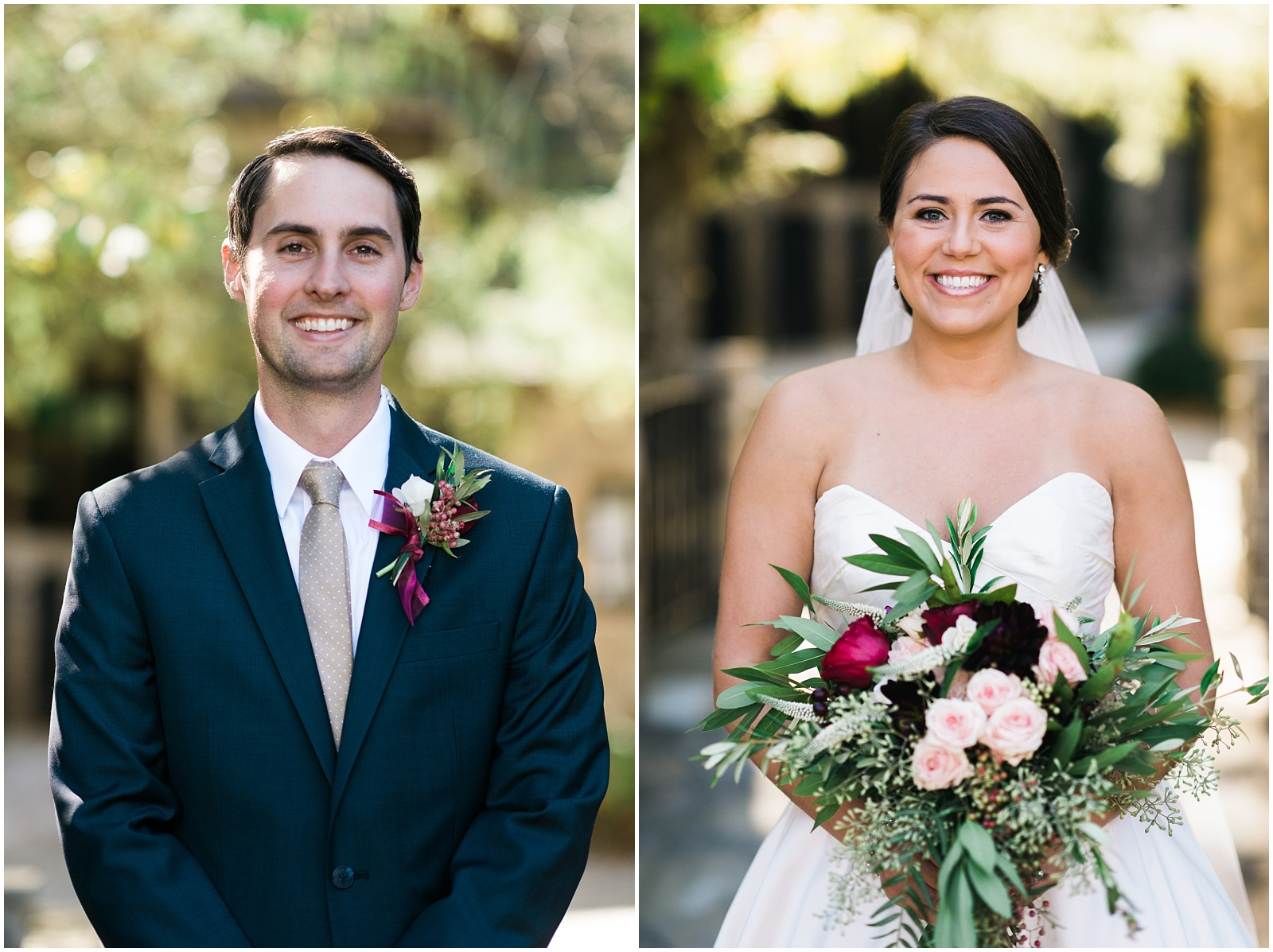 Bride and groom closeup portraits